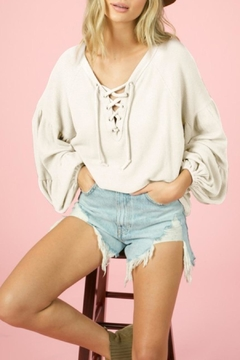 Blue Buttercup Lace-Up Waffle Knit Top - Alternate List Image