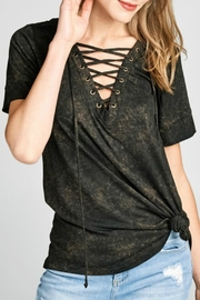Oddi Lace-Up Washed Top - Product Mini Image