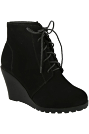 Lyn-Maree's  Lace Up Wedge Booties - Product Mini Image