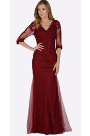 POLY USA Lace V-Neck Fit & Flare Evening Gown - Product Mini Image
