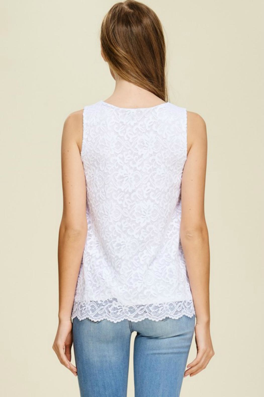 White Birch Lace V-Neck Tank - Side Cropped Image