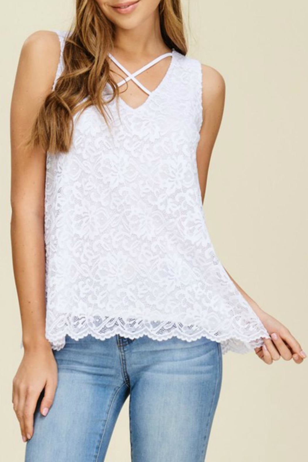 White Birch Lace V-Neck Tank - Main Image