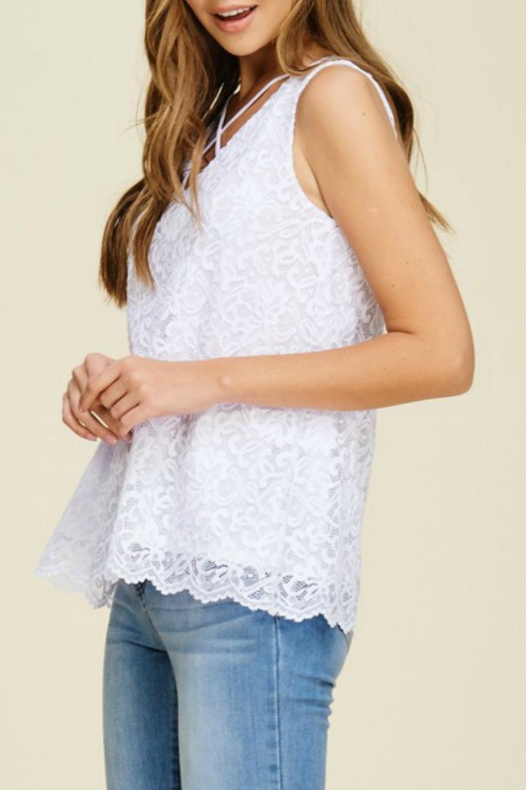 White Birch Lace V-Neck Tank - Front Full Image