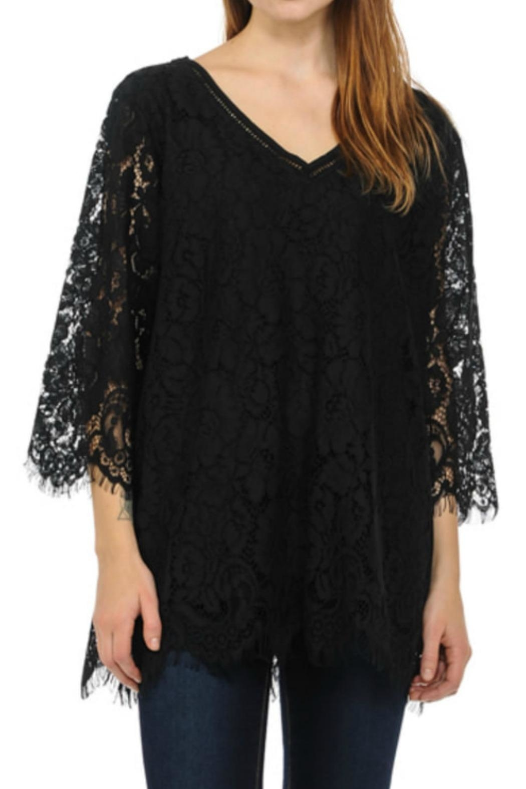 Cubism Lace V-Neck Top - Front Cropped Image