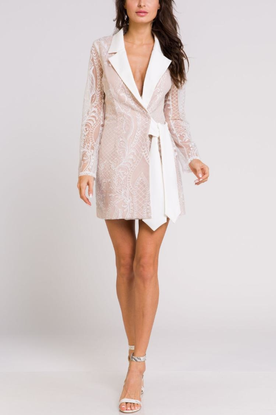 Blithe  Lace Wrap Tuxedo-Dress - Main Image