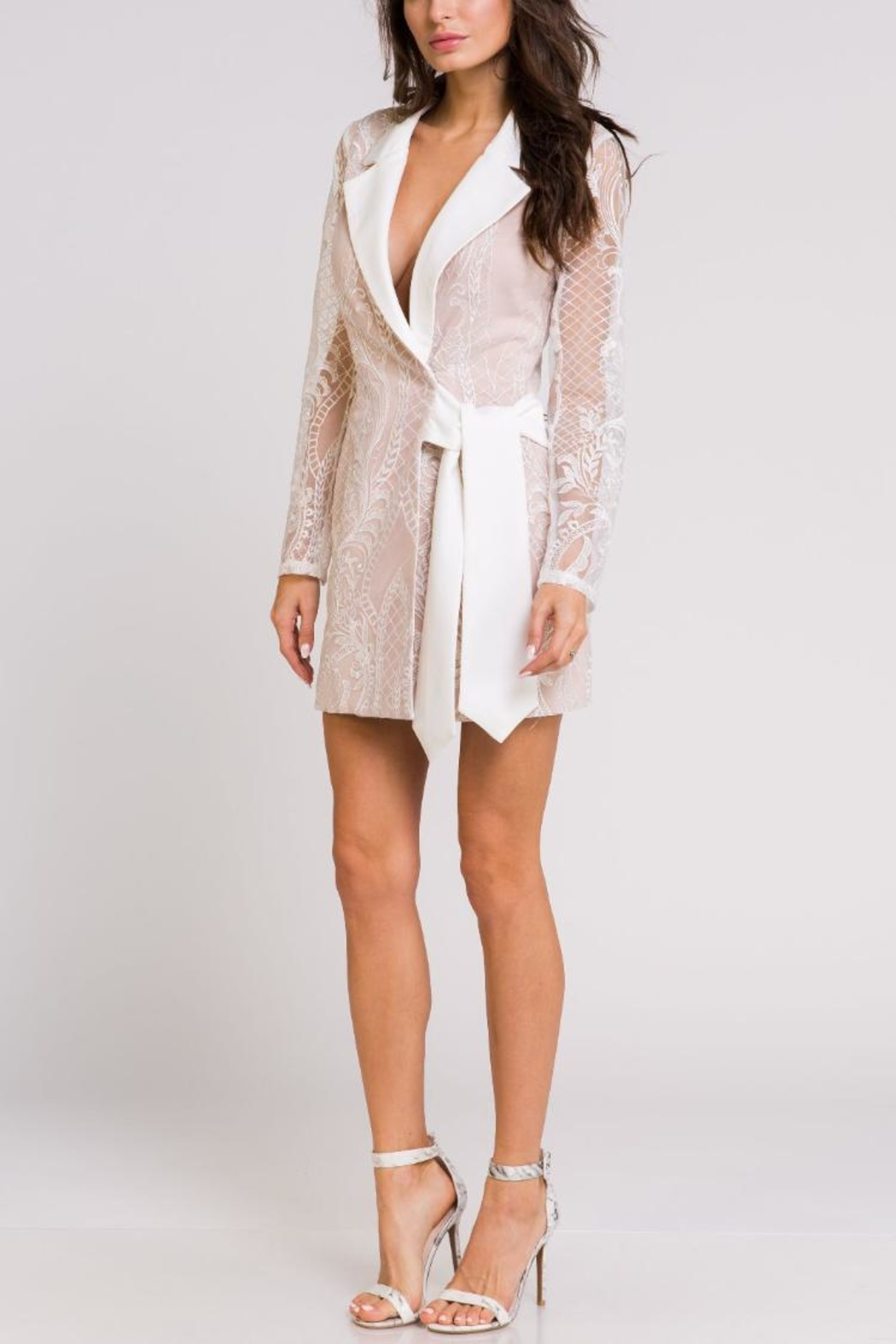 Blithe  Lace Wrap Tuxedo-Dress - Front Full Image