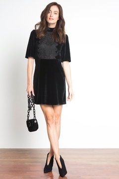 Urban Touch Lacedetailed Velvet Dress - Product List Image