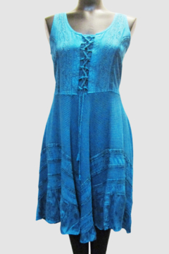 Shabri LaceUp Bodice Flared Skirt Teal Dress - Product List Image
