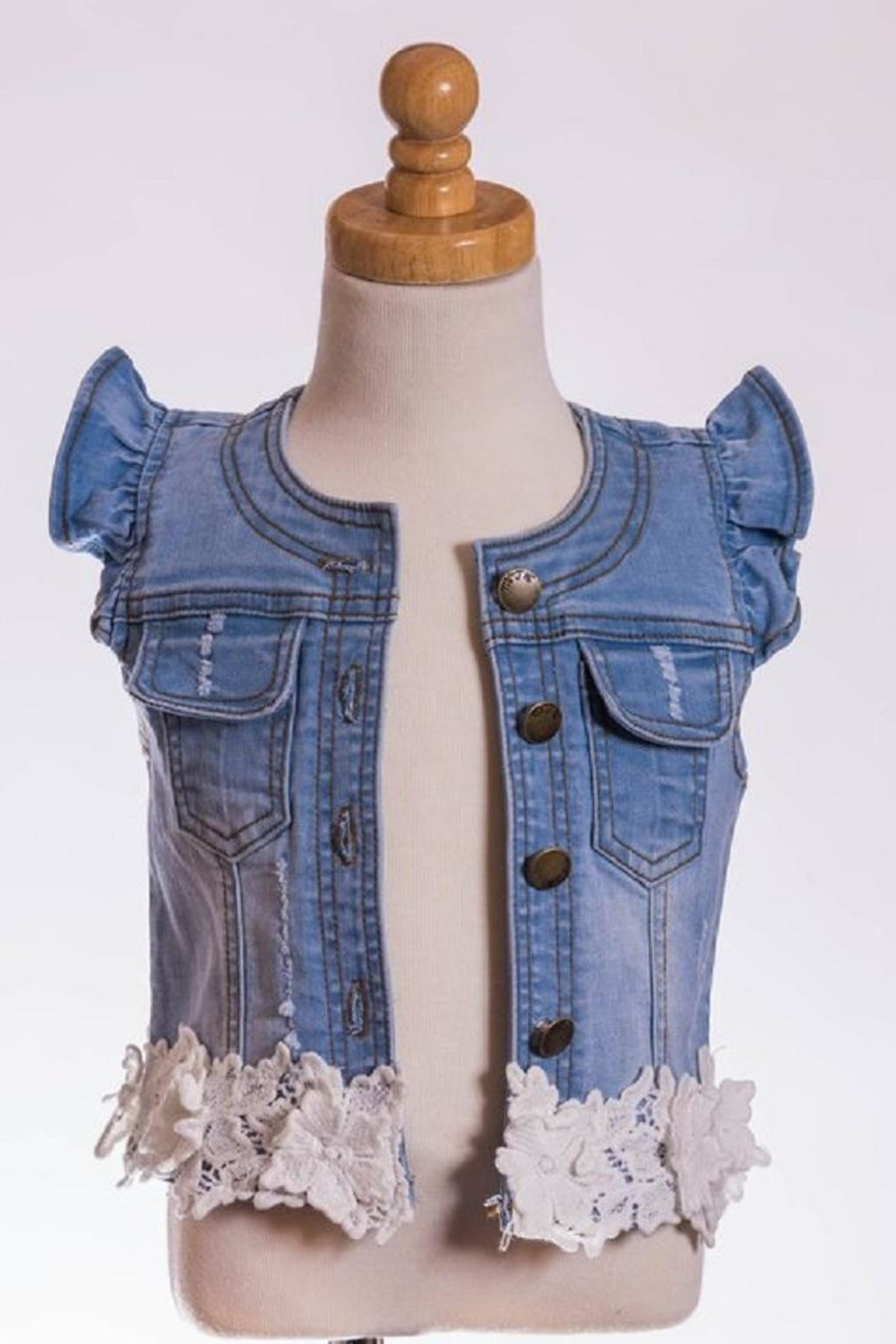 ML Kids Lacey Denim Vest - Front Cropped Image