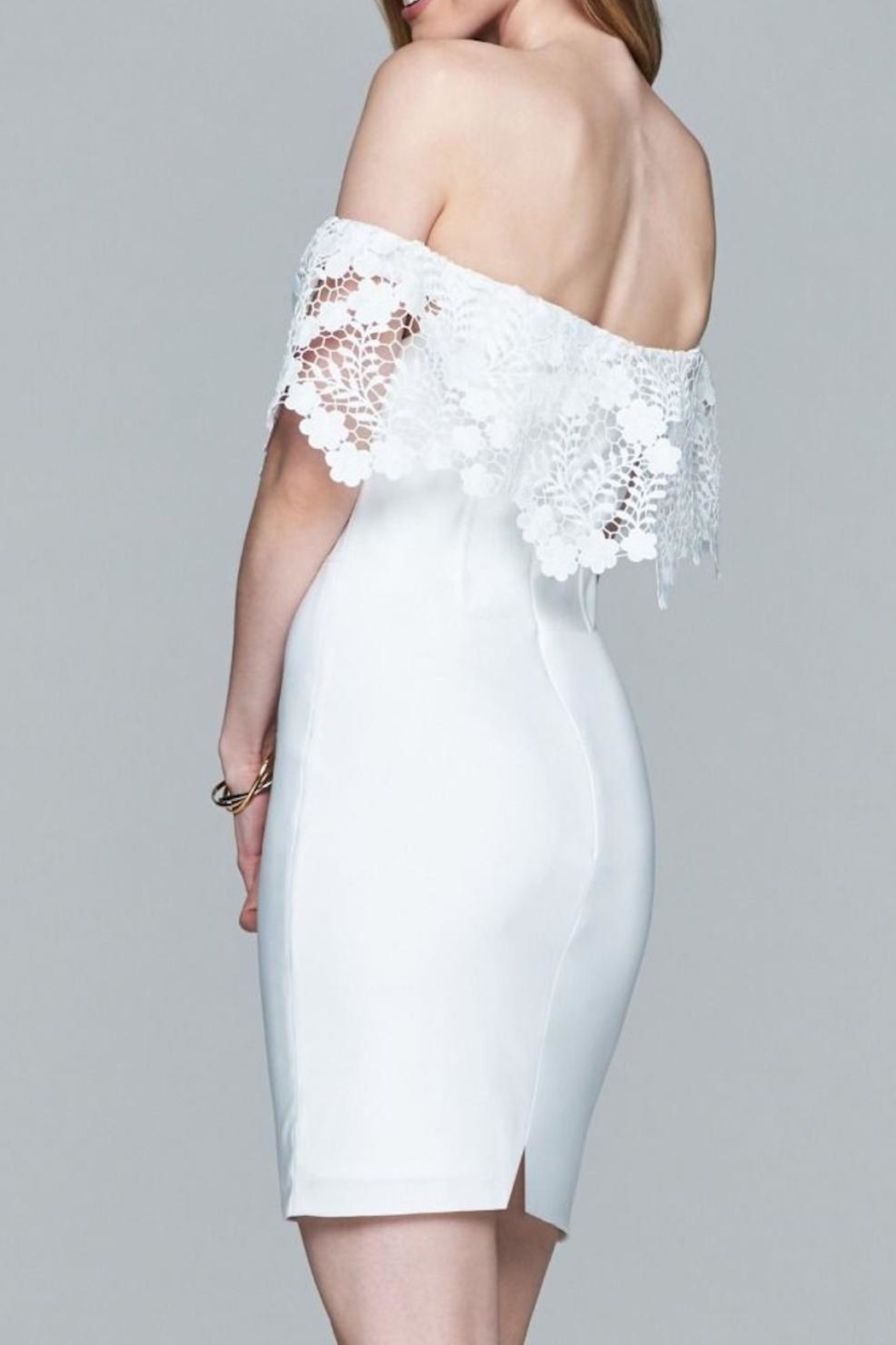 Faviana Lacey Off-Shoulder Dress - Side Cropped Image