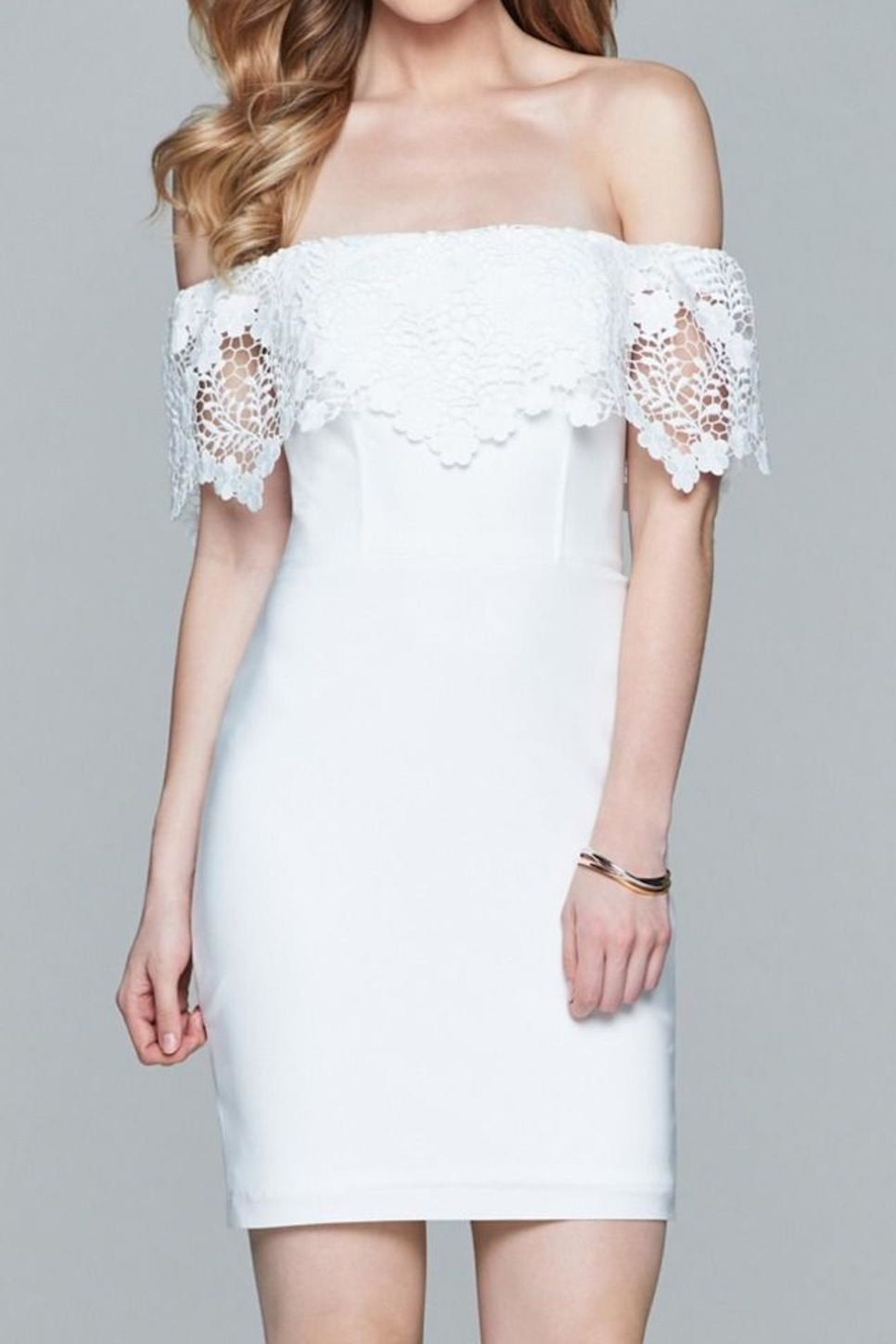 Faviana Lacey Off-Shoulder Dress - Front Full Image