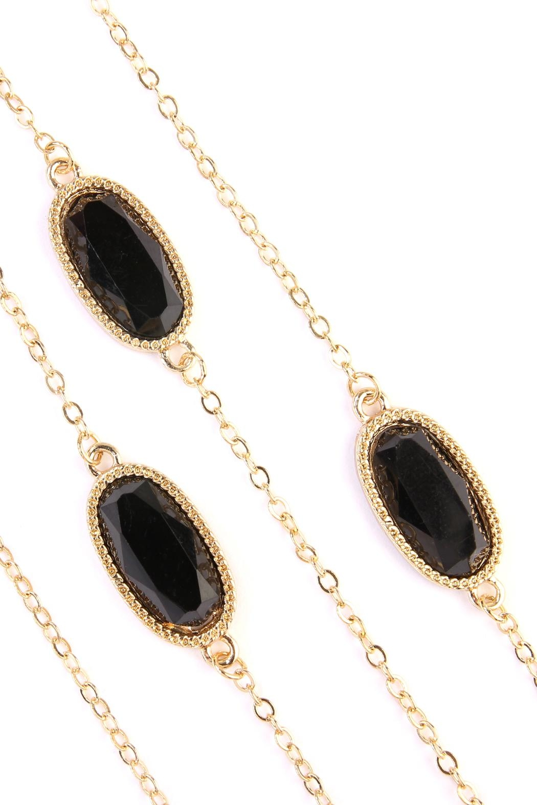 Riah Fashion Lacquer-Oval-Shape Necklace - Front Full Image