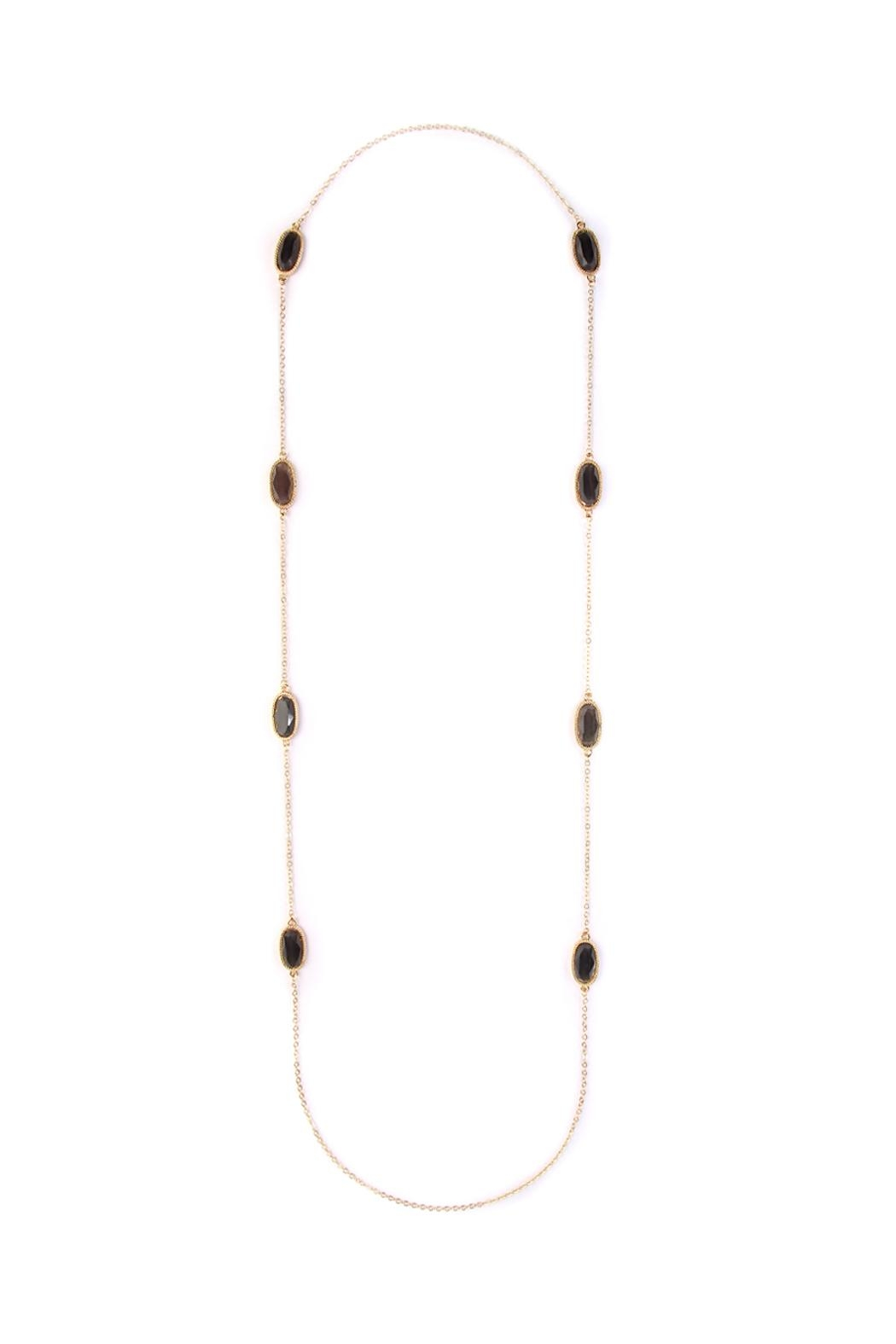 Riah Fashion Lacquer-Oval-Shape Necklace - Front Cropped Image
