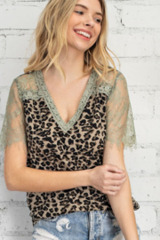 143 Story Lacy Leopard Short Sleeve Top - Product Mini Image