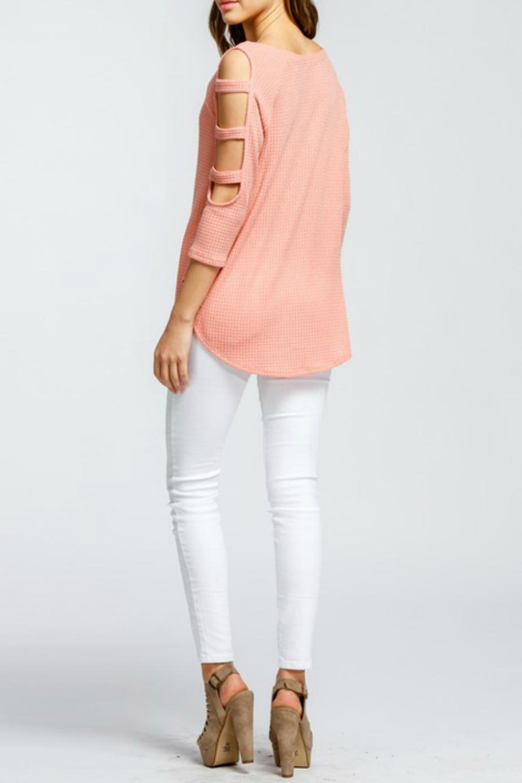 Cherish Ladder Sleeve Thermal-Knit - Side Cropped Image