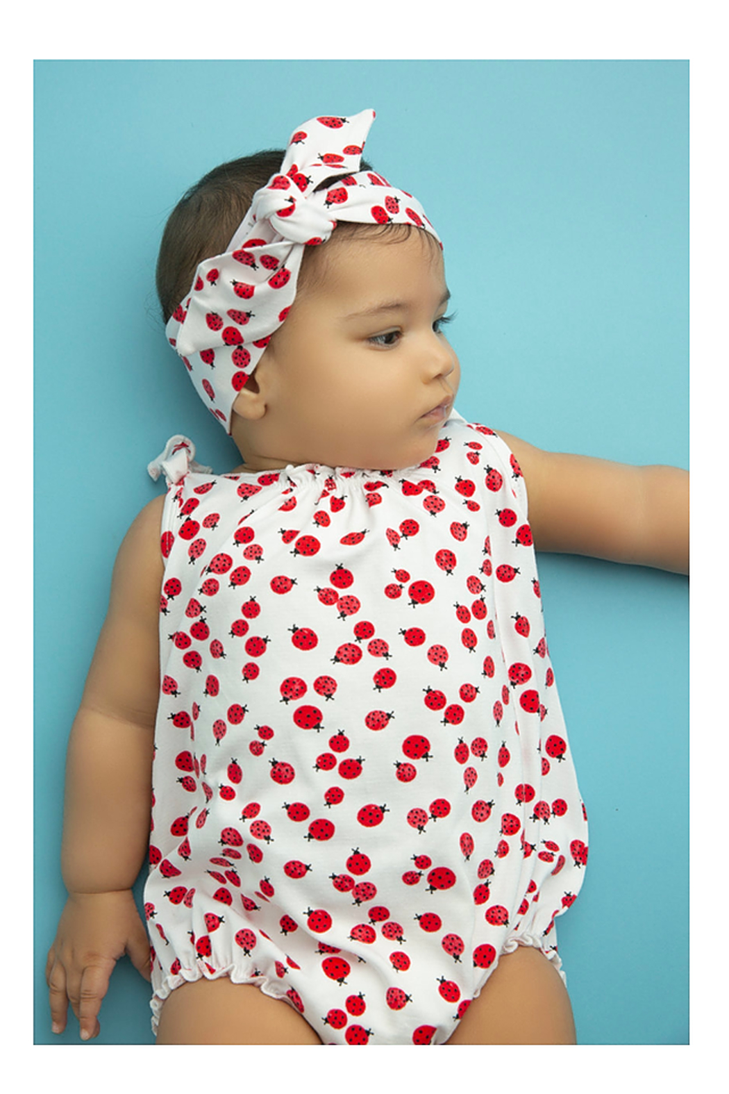 Angel Dear Lady Bugs Smocked Bubble - Front Full Image