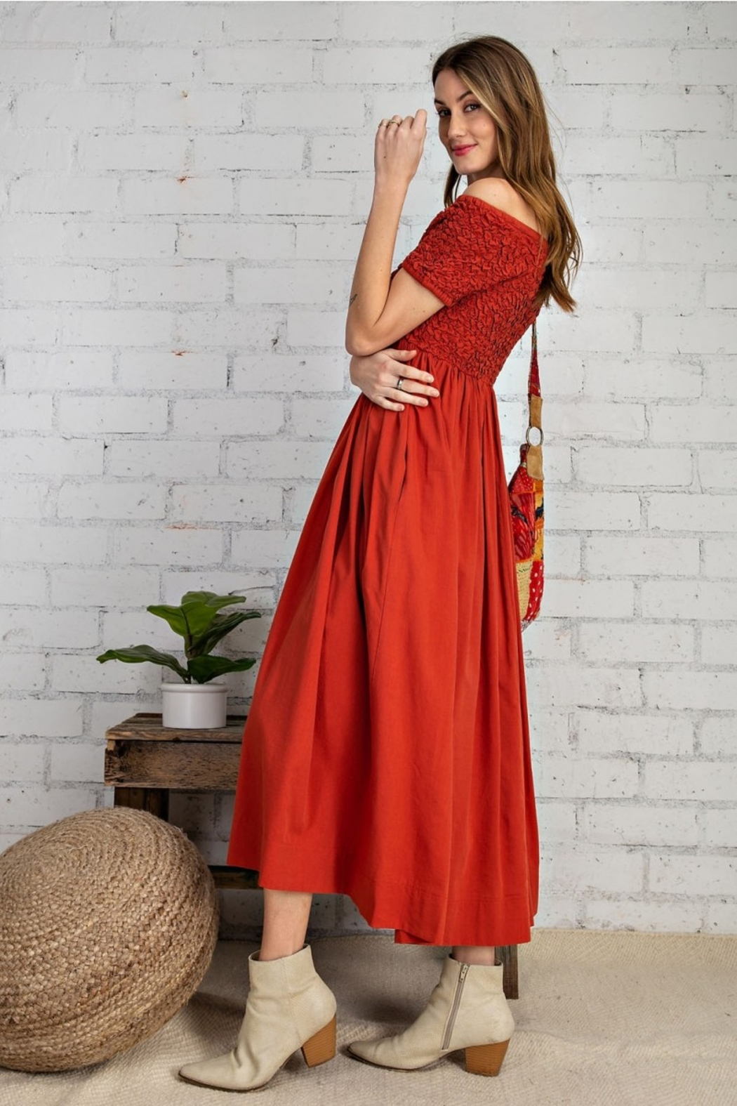 Easel  Prettiest Maxi Dress with Pockets - Back Cropped Image