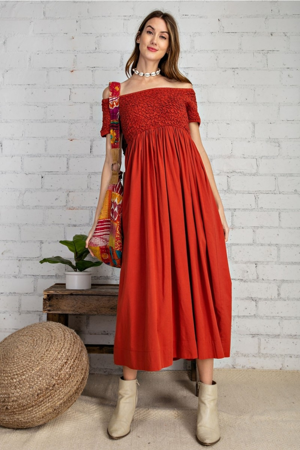 Easel  Prettiest Maxi Dress with Pockets - Side Cropped Image