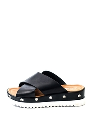 Lady Doc Black Cross Over Slide - Front cropped