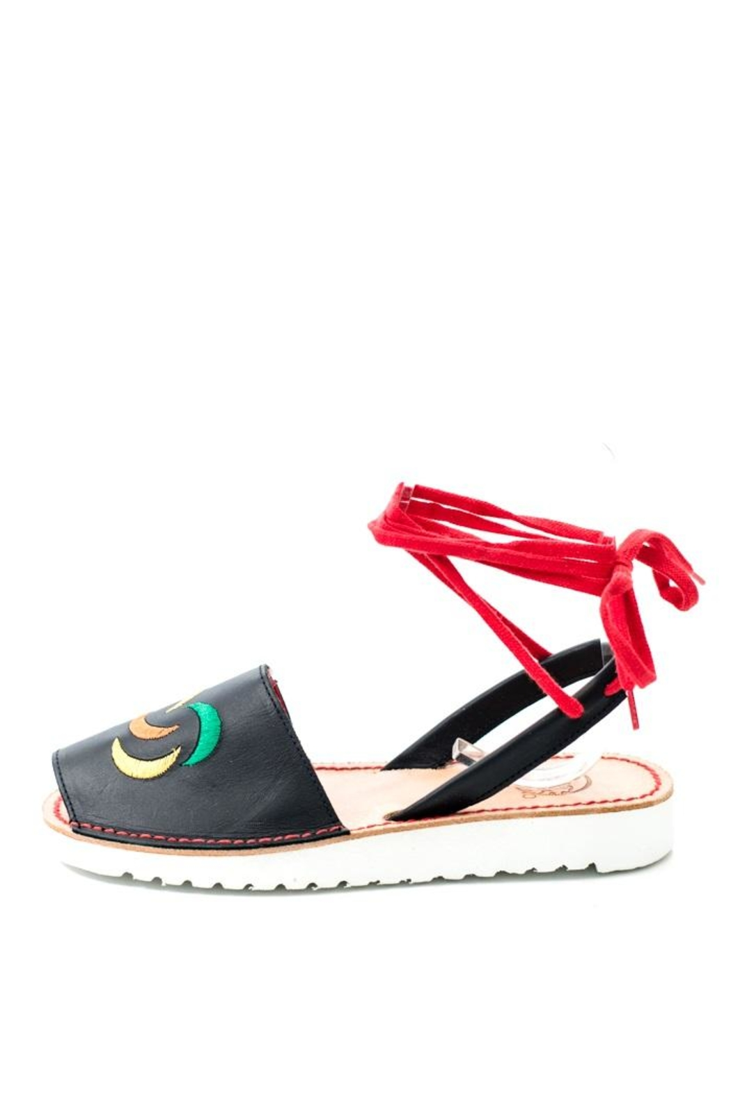 Lady Doc Black Tie Up Sandal - Main Image