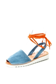 Lady Doc Blue Tie Up Sandal - Front full body