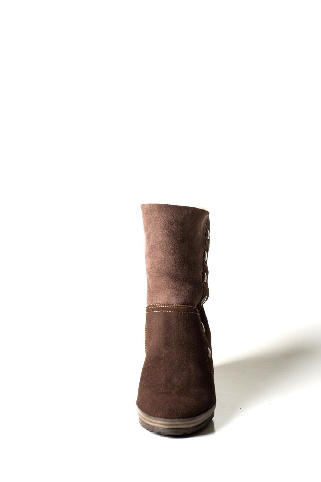 Lady Doc Chocolate Brown Wedge-Boot - Front Full Image