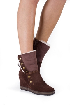 Shoptiques Product: Chocolate Brown Wedge-Boot