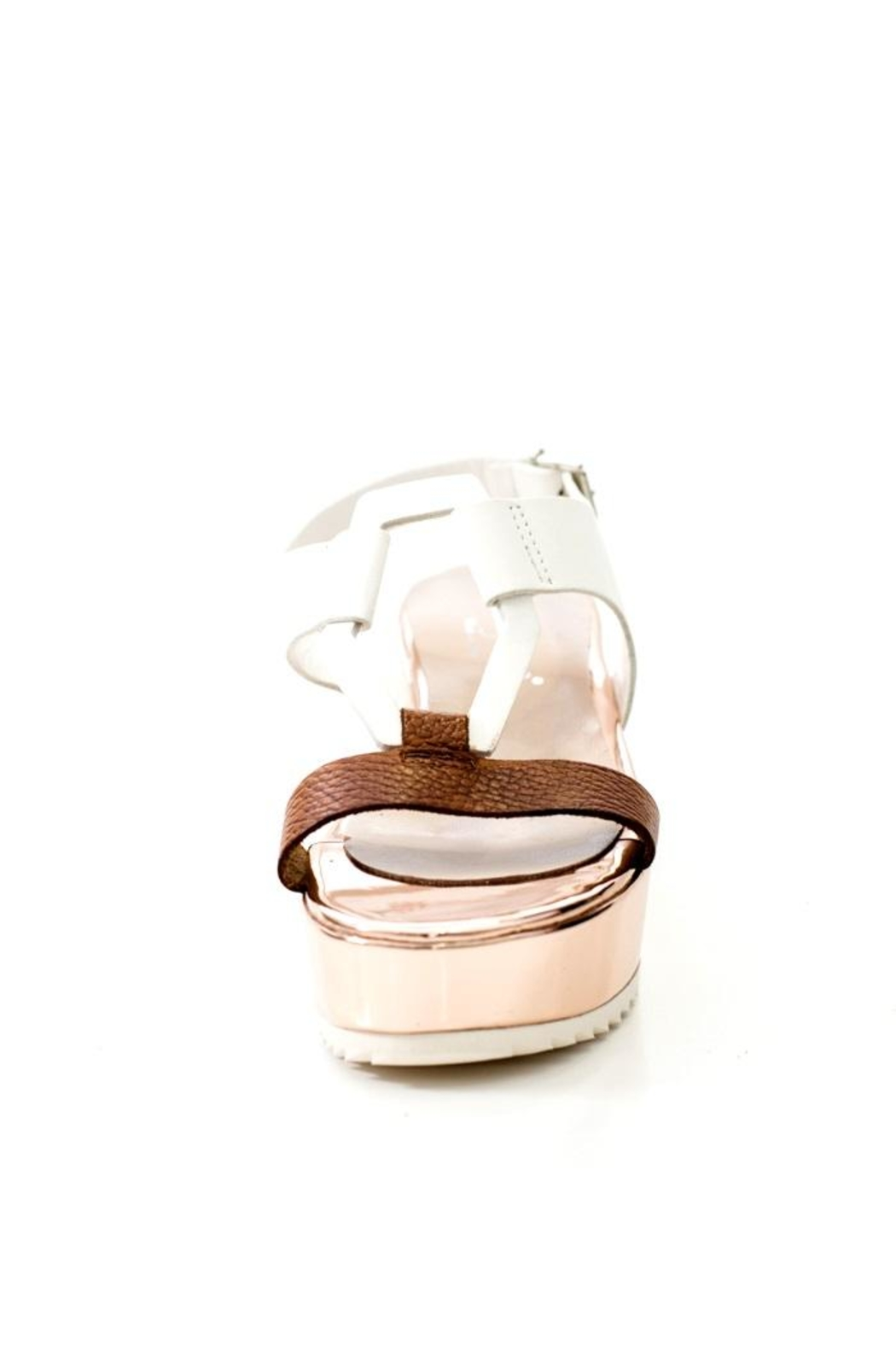 Lady Doc Leather Rose Gold Sandal - Back Cropped Image