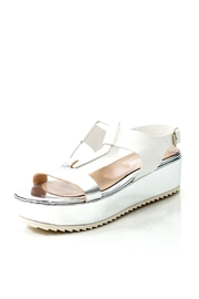 Lady Doc Leather Silver Platform Sandal - Front full body