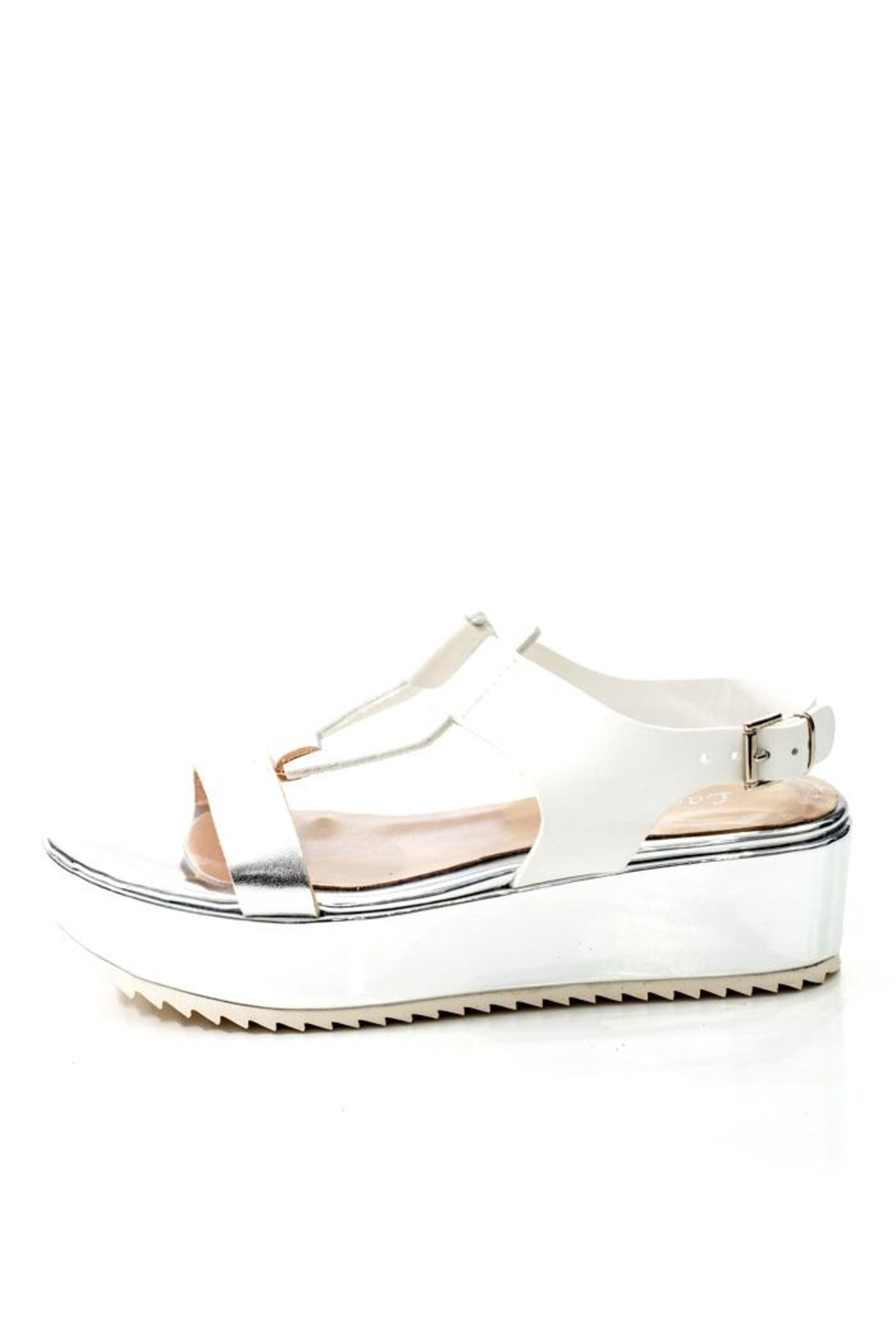 Lady Doc Leather Silver Platform Sandal - Front Cropped Image