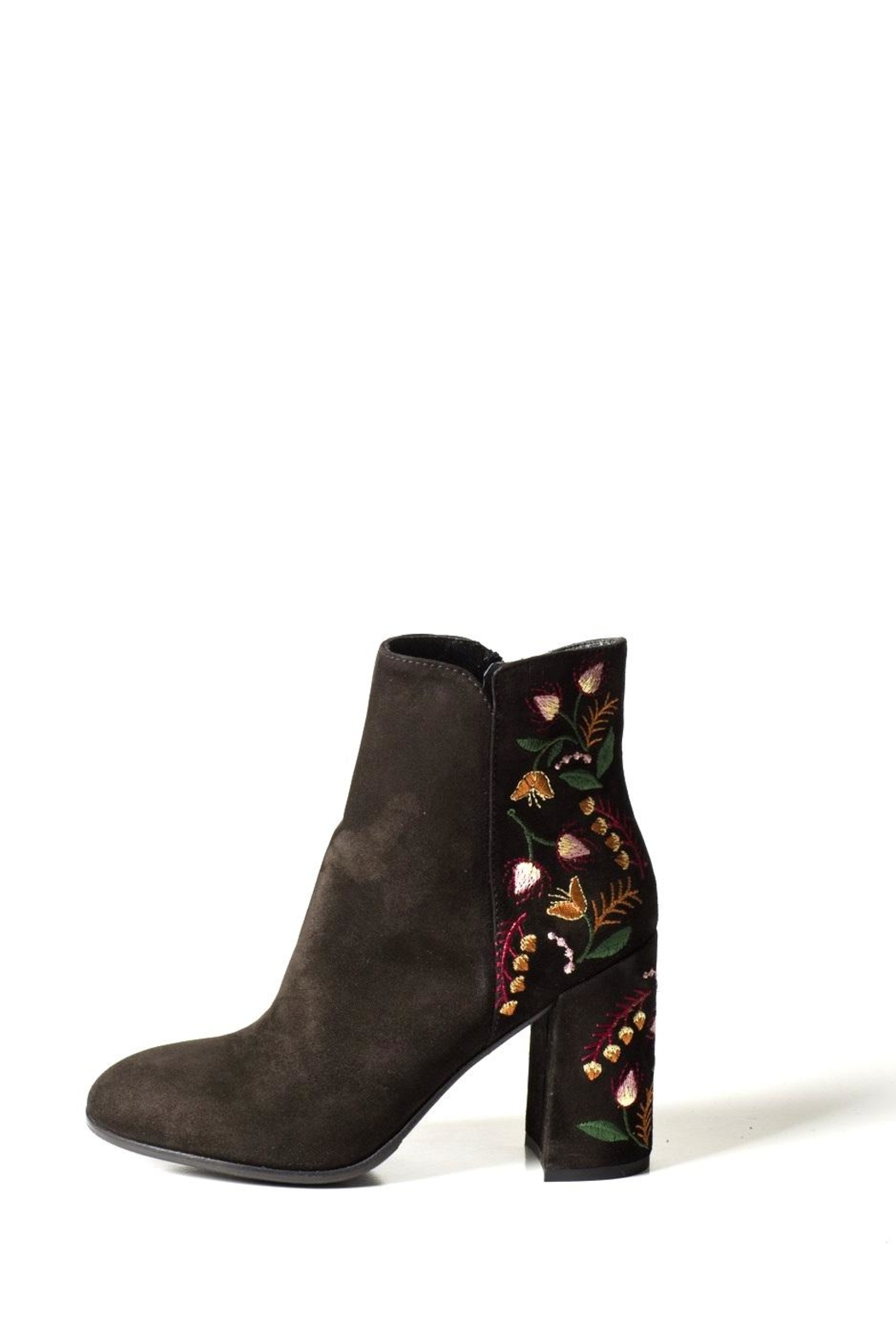 Lady Doc Suede-Embroidered Heeled-Boot - Front Full Image