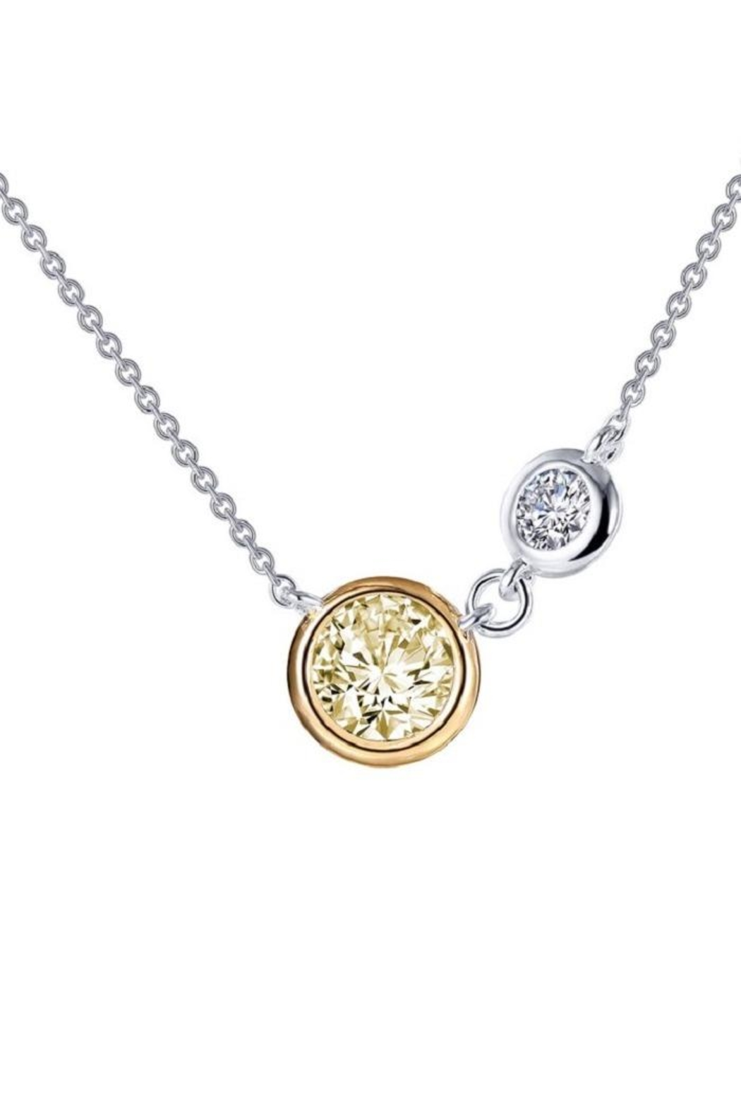 Lafonn Round Bezel Two Stone Necklace - Front Cropped Image