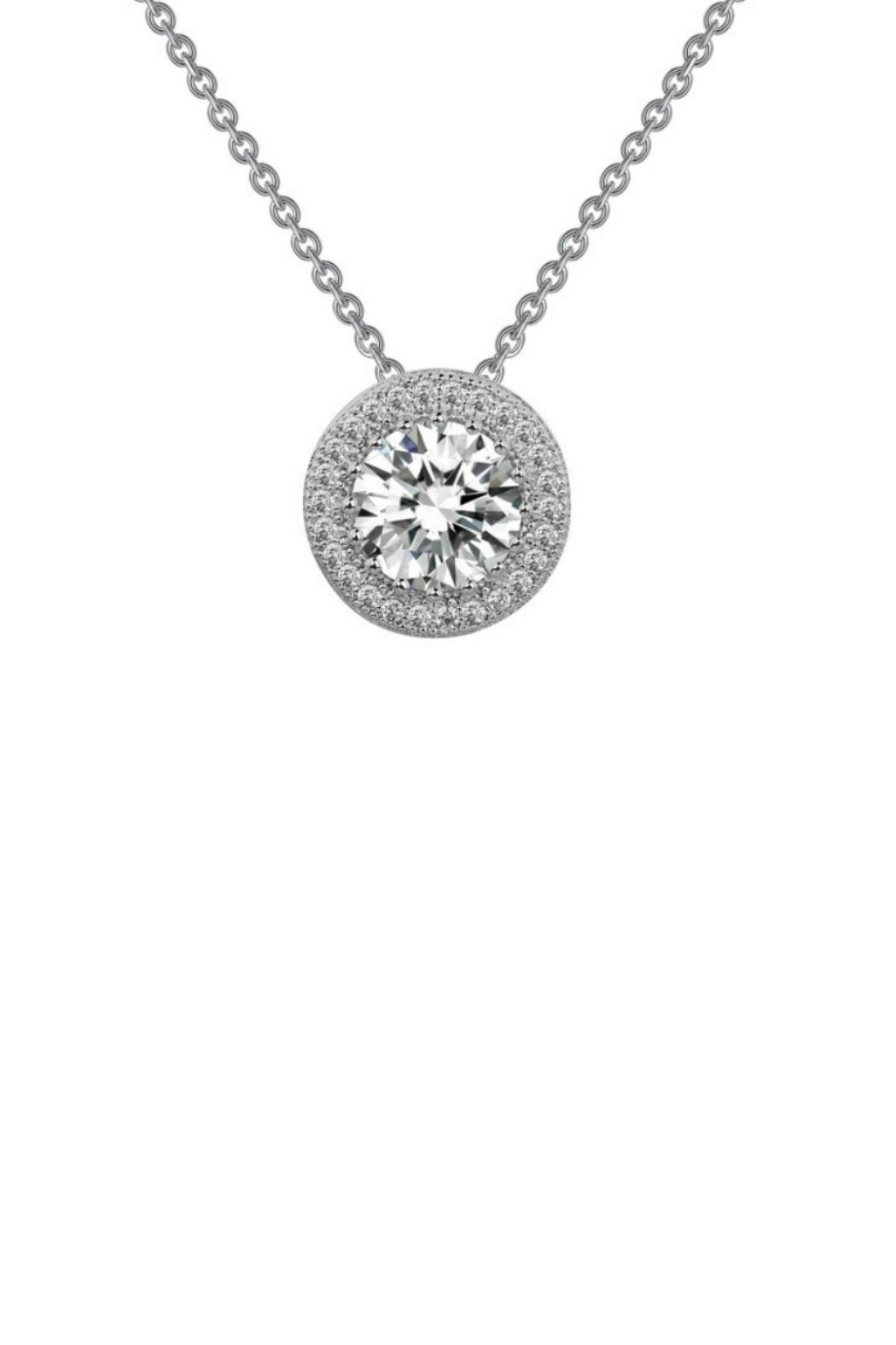 double veneer diamond simulated diamonds round necklace solitaire chain solid sided collections stationary pendant gold