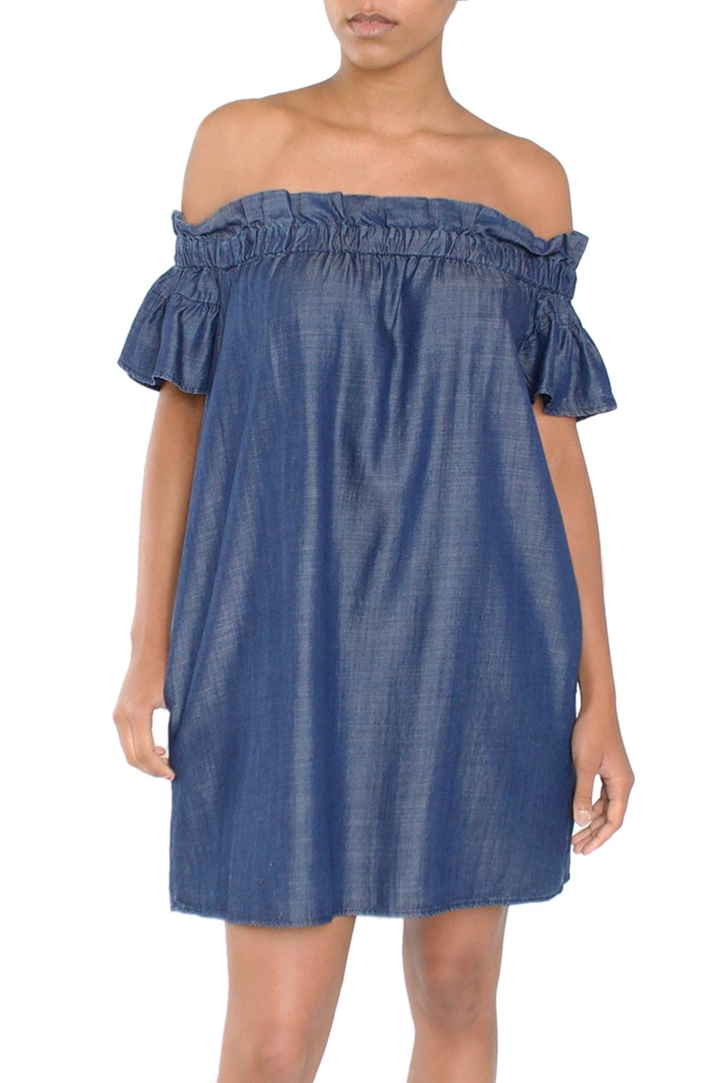Laju Chambray Off-Shoulder Dress - Front Cropped Image