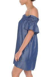 Laju Chambray Off-Shoulder Dress - Front full body