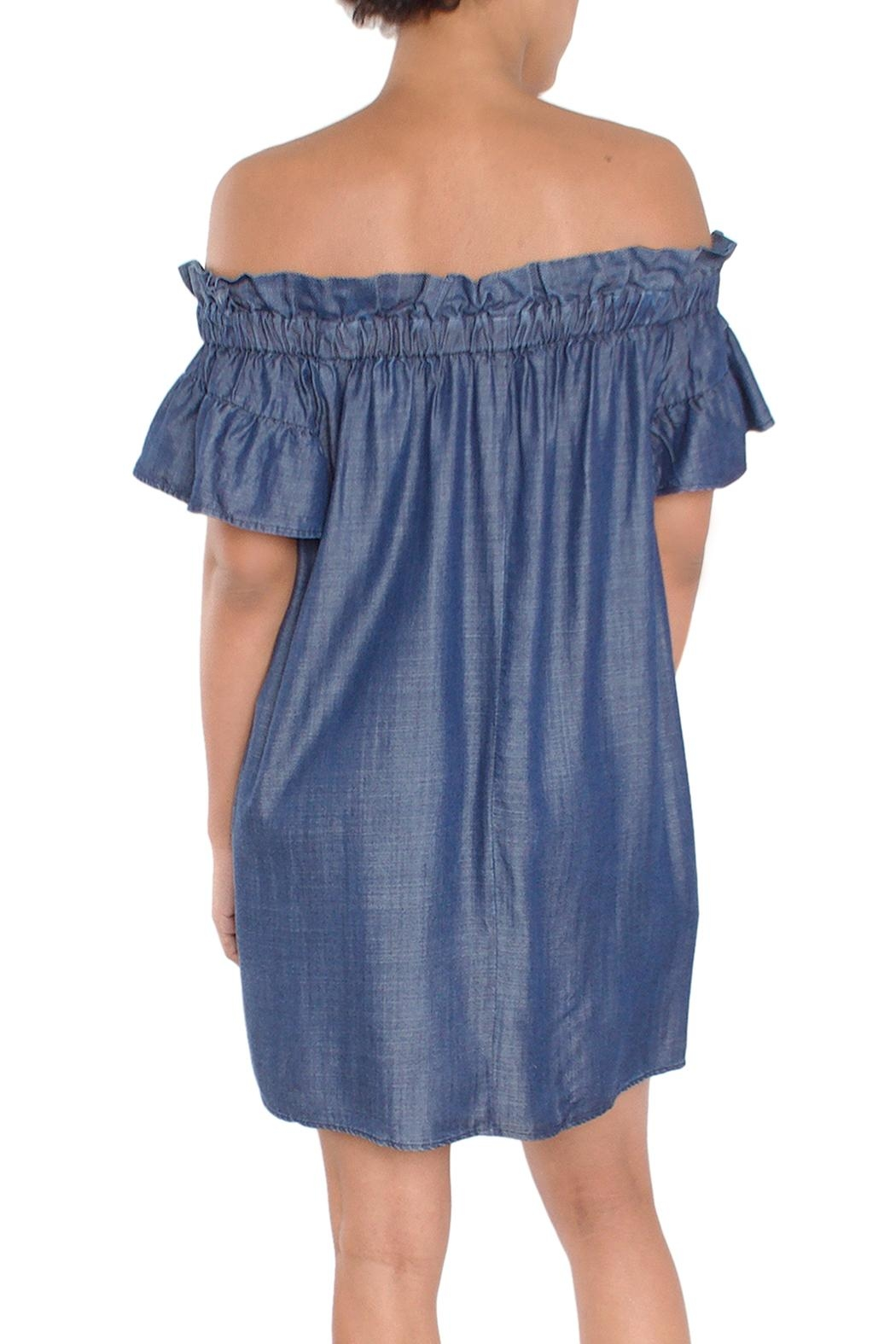 Laju Chambray Off-Shoulder Dress - Side Cropped Image