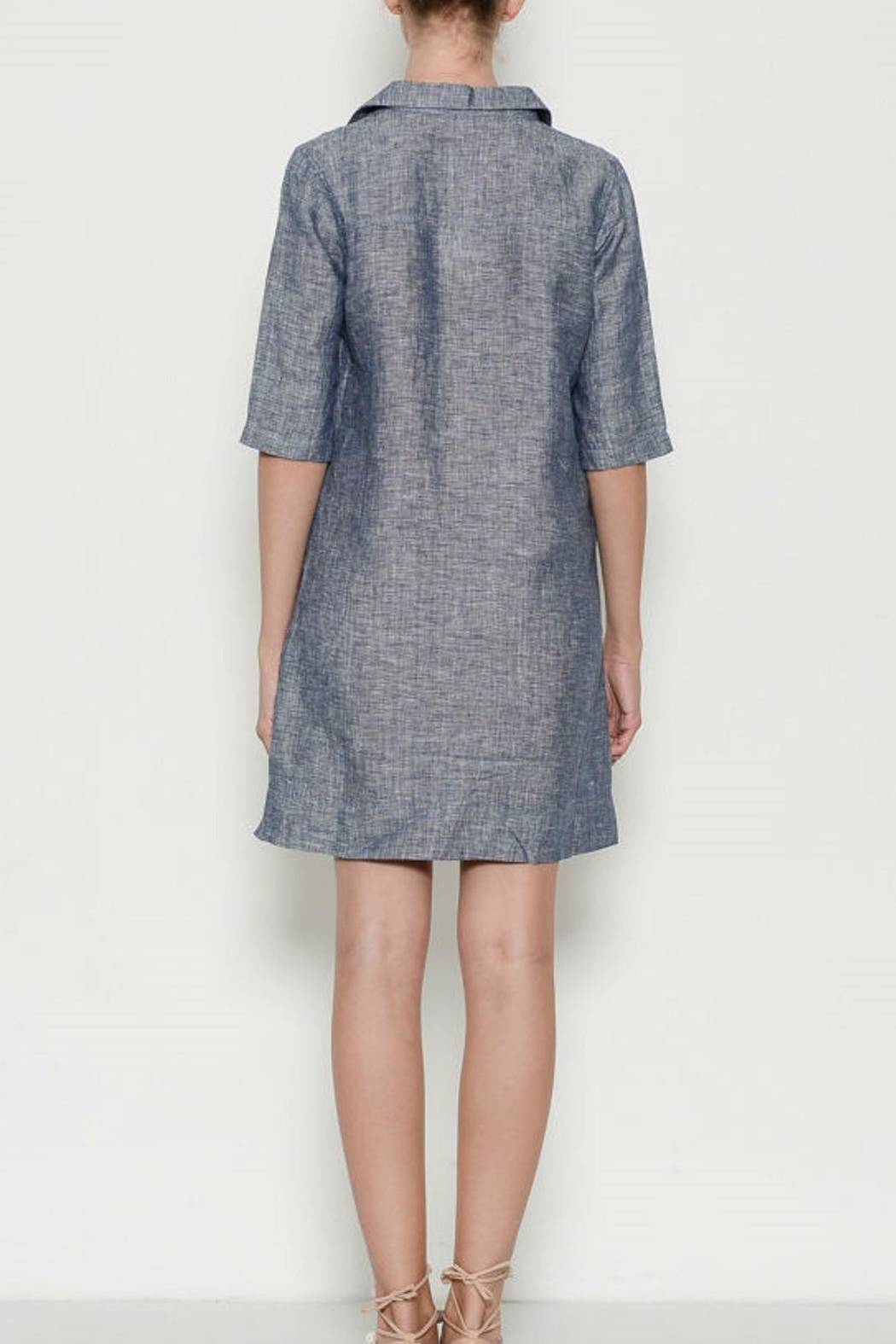 Laju Linen Collared Dress - Front Full Image