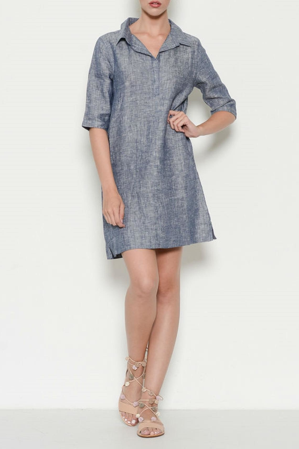 Laju Linen Collared Dress - Front Cropped Image