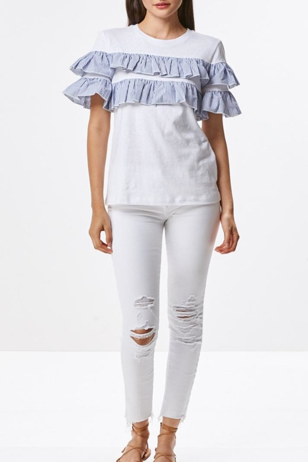 Laju Ruffle Front Top - Back Cropped Image