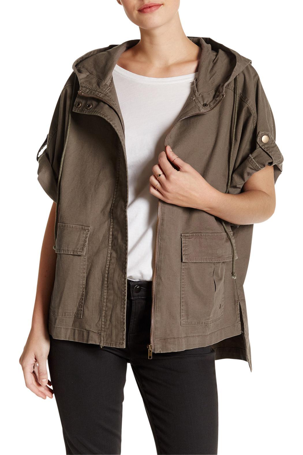 Laju Collection Hooded Olive Jacket - Front Cropped Image