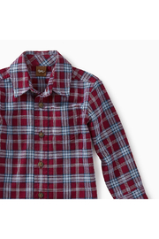 Tea Collection Lakeshore Plaid Baby Button Shirt - Front full body