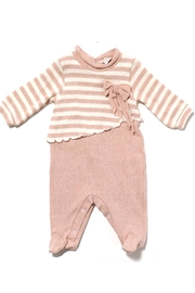 Lalalu Lalalù New born Baby Girl Cotton Elasticized Long Sleeve Jumpsuit with Fancy Bow - Product Mini Image