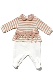 Lalalu Lalalù New born Baby Girl Cotton Long Sleeve Jumpsuit with Fancy Bows - Product Mini Image