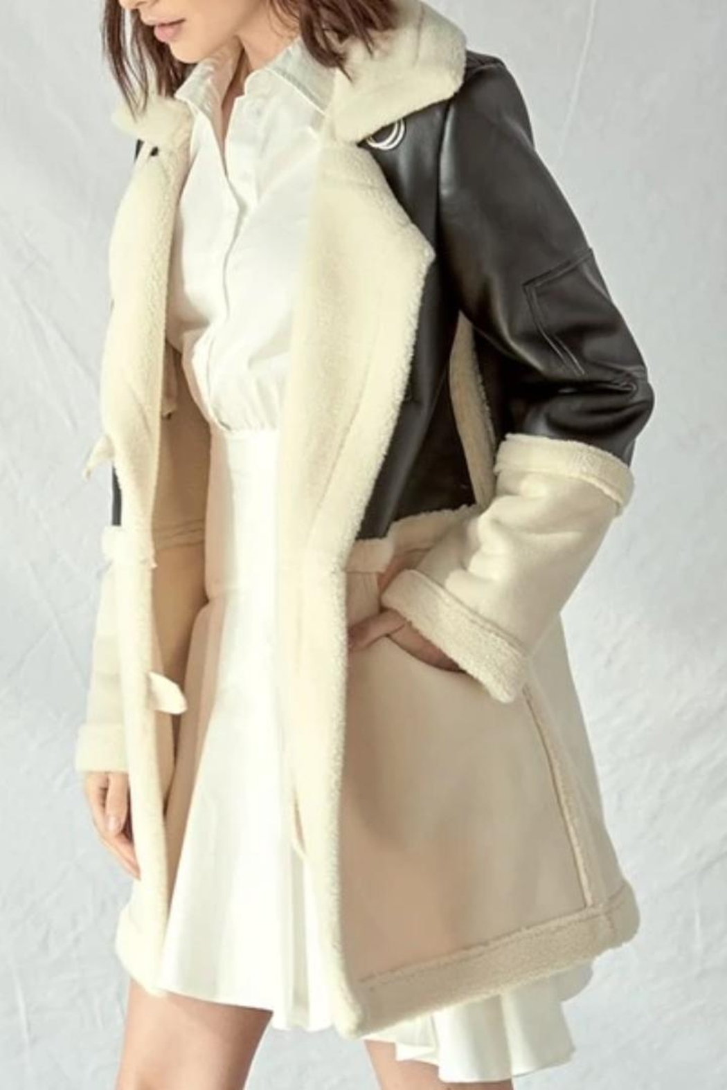 lalavon Pu Leather Fur Coat - Front Cropped Image