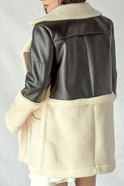 lalavon Pu Leather Fur Coat - Front full body