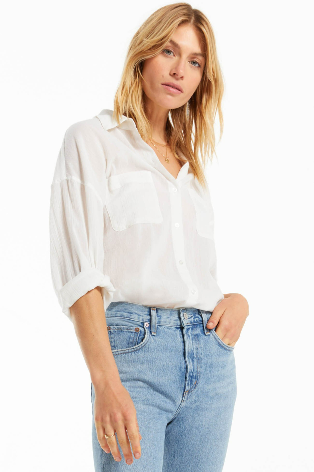 z supply Lalo Button Up Top - Side Cropped Image