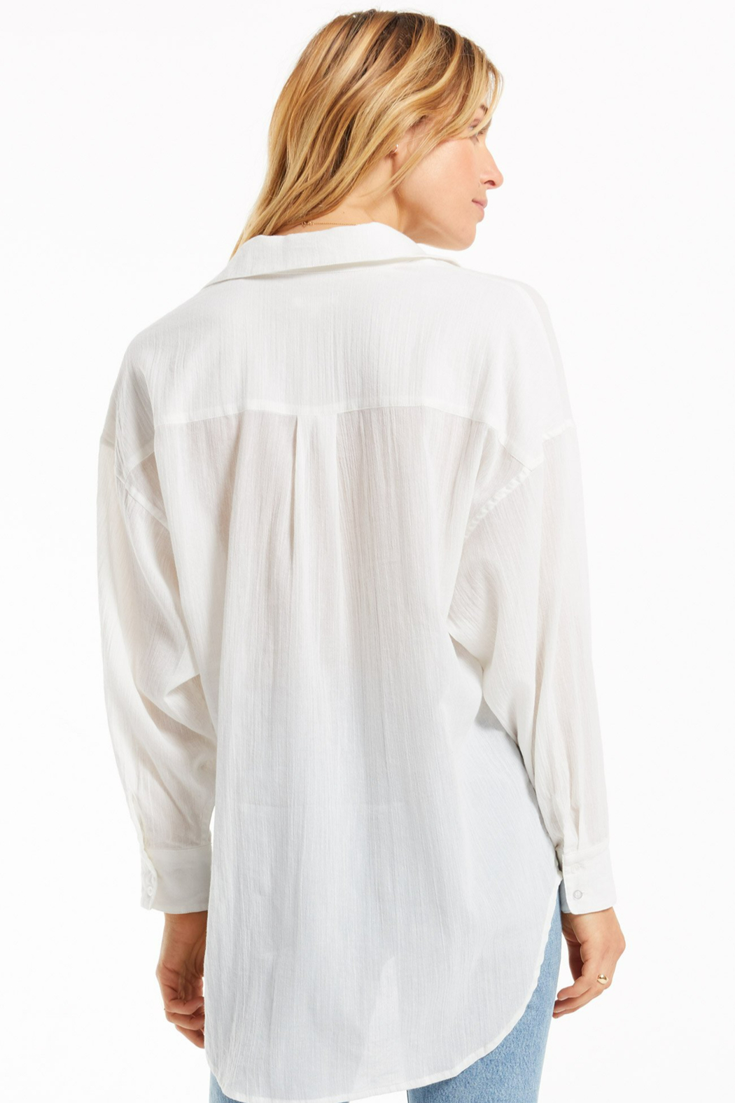z supply Lalo Button Up Top - Back Cropped Image