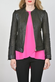 Lamarque Open Weave Leather Jacket - Product Mini Image