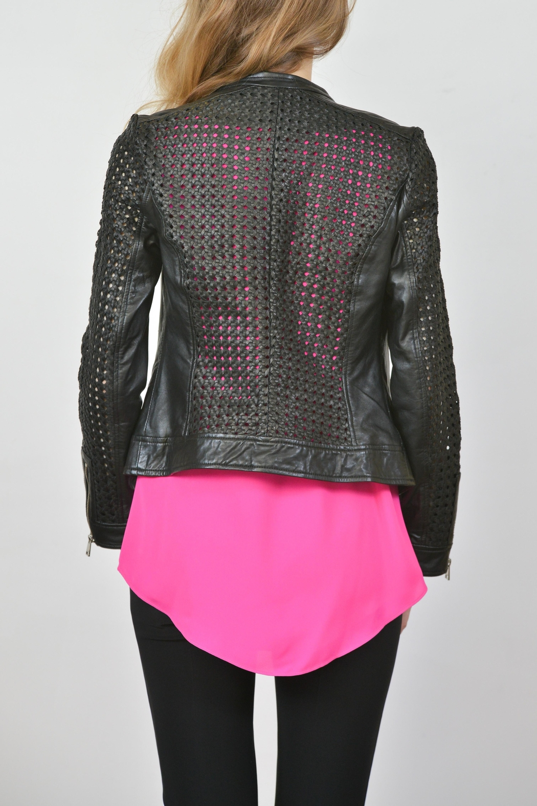 Lamarque Open Weave Leather Jacket - Front Full Image