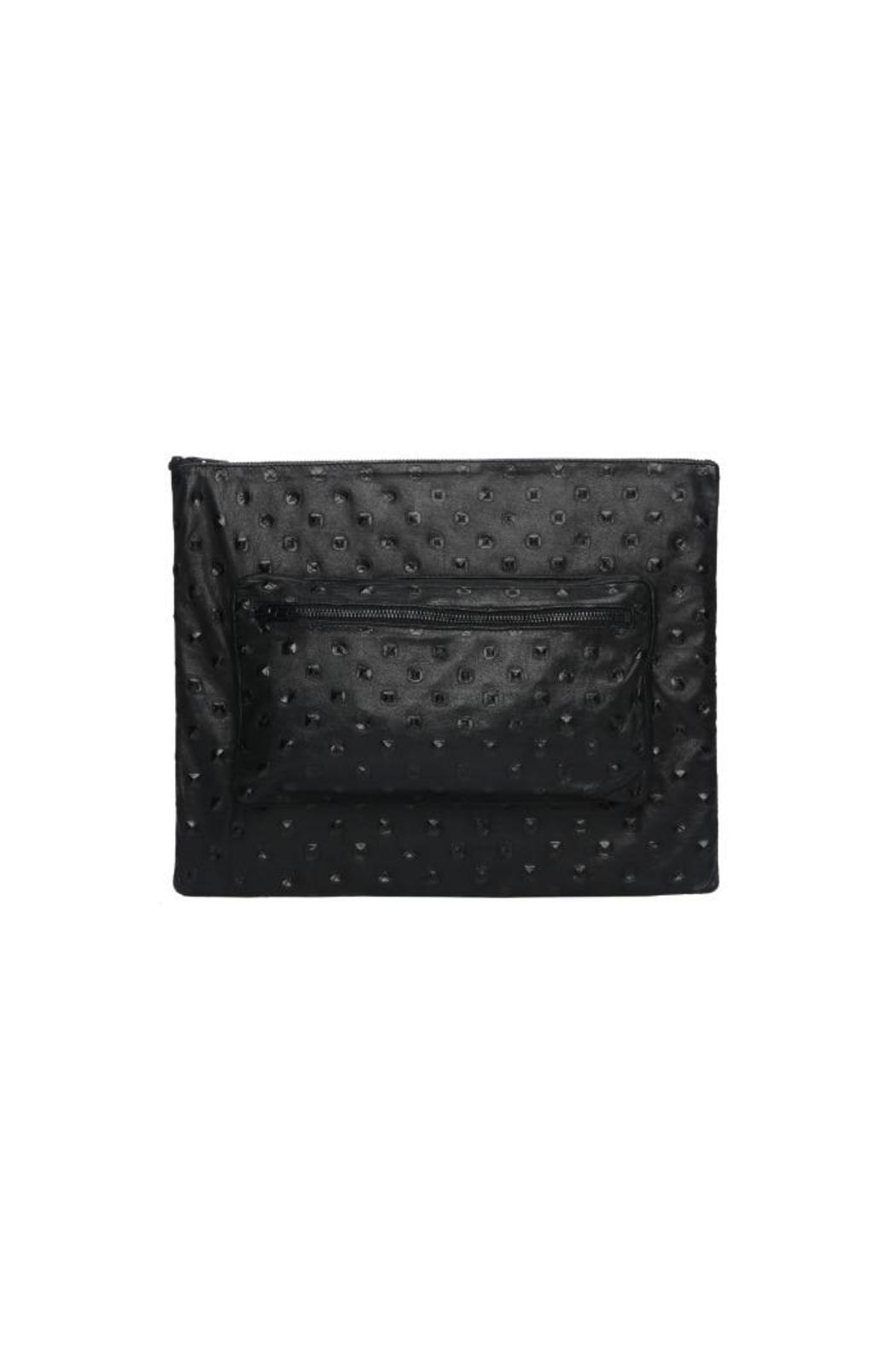 One Fated Knight Lamb Leather Oversize Pouch - Front Cropped Image